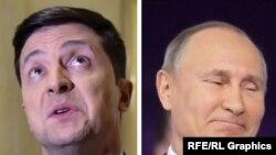 Vladimir Putin Volodymyr Zelenskiy combo photo