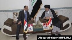 زعيم التيار الصدر مقتدى الصدر مستقبلاً رئيس مجلس النواب سليم الجبوري في النجف