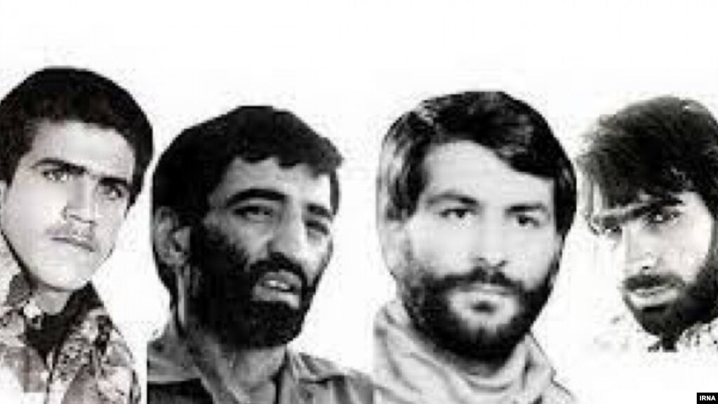 Ahmad Motovasselian military attache in Iran embassy in Beirut (2nd L) and three others kidnapped with him. FILE PHOTO