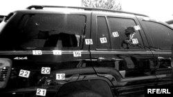 U policiji se zalažu za postavljanje sistema kamera i 24-orosatni nadzor u gradu (na fotografiji: mecima izrešetan automobil, Budva, 2011.)