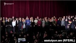Armenia -- Artists of the nationla opera theater stage a protest action in support of Constantine Orbelian, 30Mar2019.