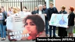 Акция в поддержку азербайджанской журналистки Хадиджи Исмаиловой. Кишинёв, 3 мая 2016 года.