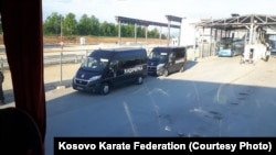 The Kosovar karate team is stopped at the Serbian border at Merdare on May 9.