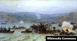 Переправа русской армии через Дунай у Зимницы 15 июня 1877 года, картина Николая Дмитриева-Оренбургского (1883)