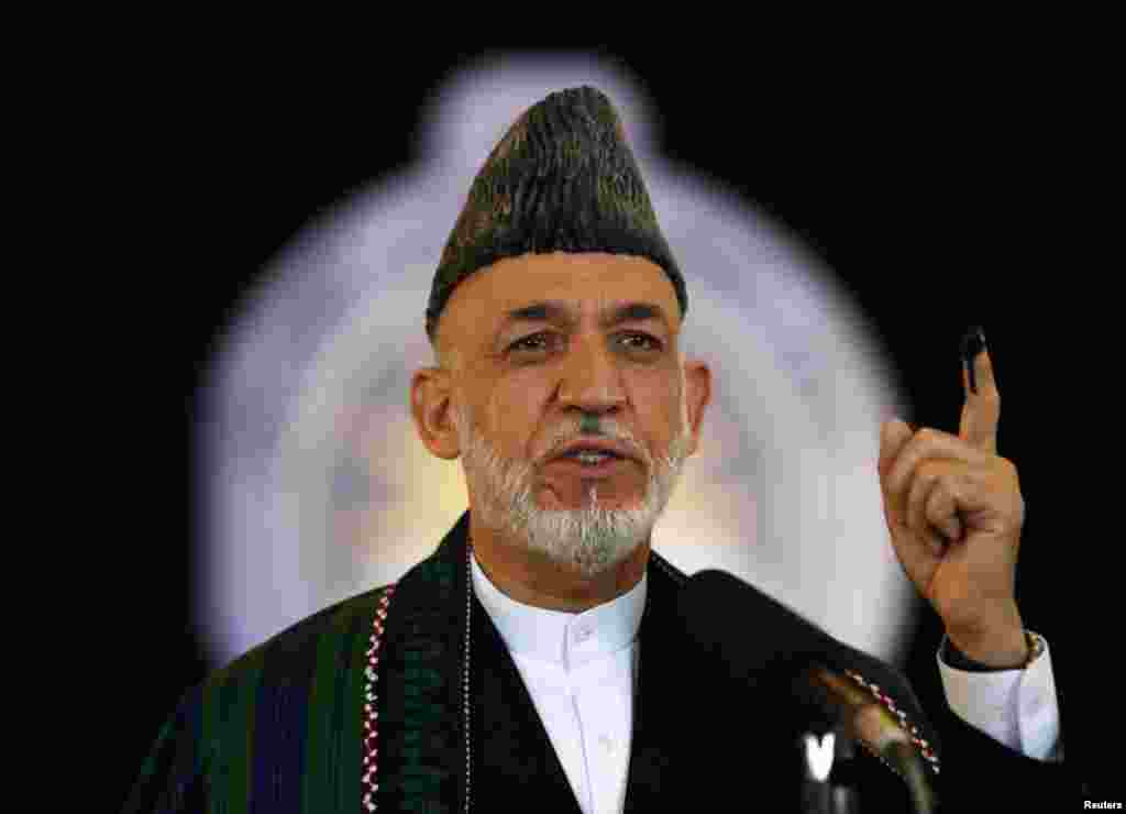 Outgoing Afghan President Hamid Karzai after voting in Kabul