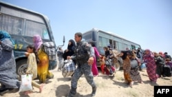 Iraqi forces help civilian families in Iraq's Anbar Province after they fled Fallujah during a major operation by pro-government forces to retake the city from Islamic State militants.