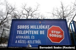 """Stop Soros"" - afiș la Budapesta, februarie 2018"