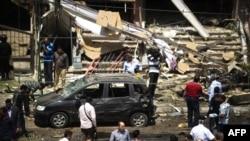 آثار التفجير الذي إستهدف وزير الداخلية المصري محمد إبراهيم في القاهرة