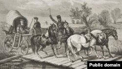 Падарожжа ўXVIIстагодзьдзі, літаграфія Юзафа Брадоўскага, Tygodnik Ilustrowany, 1871