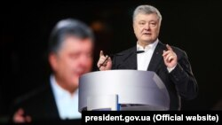 "Ukrainian President Petro Poroshenko during a speech at the All-Ukrainian Public Forum ""Open Dialogue"" in Kyiv on February 9."