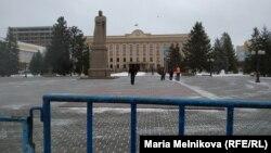 Перекрытая площадь имени Абая в Уральске. 16 декабря 2019 года.