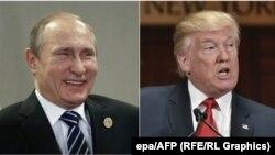 Presidenti i Rusisë, Vladimir Putin (majtas) dhe presidenti i zgjedhur i SHBA-së, Donald Trump.