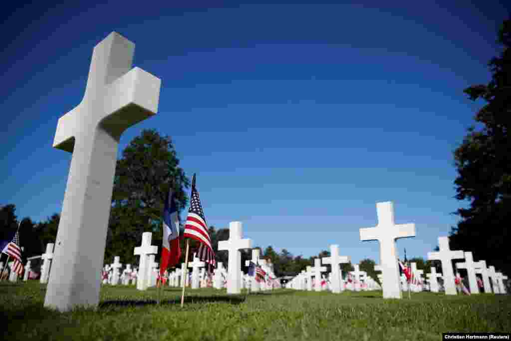FRANCE -- A general view of the Normandy American Cemetery and Memorial before a ceremony to mark the 75th anniversary of the D-Day in Colleville-sur-Mer, France, June 6, 2019.