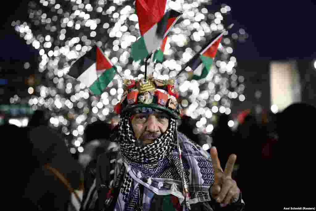 A protester reacts during a demonstration outside the U.S. Embassy in Berlin against U.S. President Donald Trump's decision to recognize Jerusalem as Israel's capital. (Reuters/Axel Schmidt)
