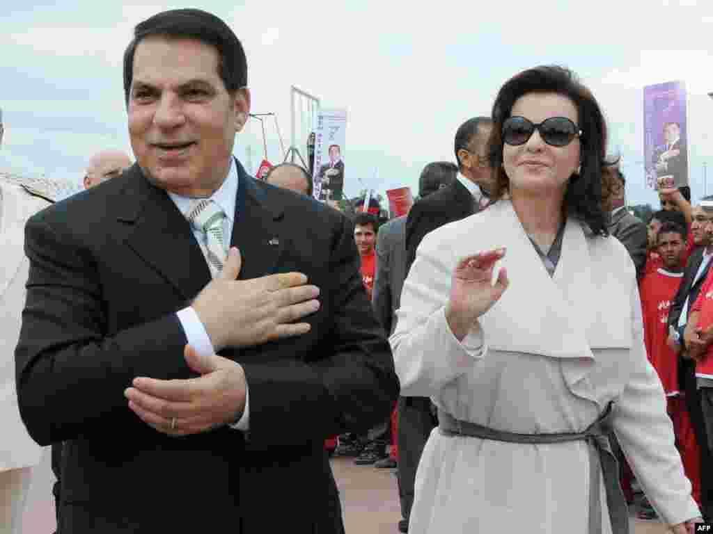 Prezident Ben Ali arvadı Leila ilə birlikdə, 11 oktyabr 2009