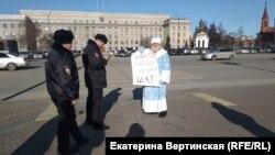 Пикет в Иркутске одного из сторонников якутского шамана