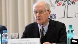 Прес-конференција на амбасадорот Герт-Хајнрих Аренс, шеф на ограничената мисија за набљудувачи на изборите на ОБСЕ/ОДИХР.