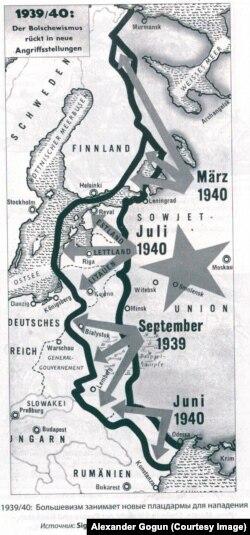 """Как немецкая пропаганда изображала советский """"натиск на Запад"""" (карта 1941 года)"""