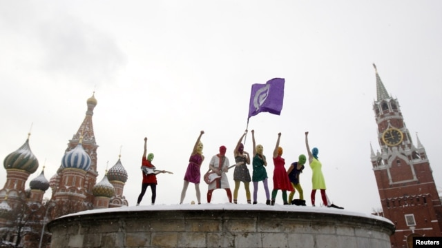 Members of Pussy Riot perform on Red Square in Moscow on January 20.
