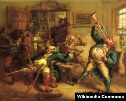Энтони ван Корлеар трубит в честь Питера Стайвесанта. 1839. John Quidor (1801-1881)