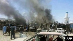 File photo of the scene of a suicide attack in Paktika, July, 2014.