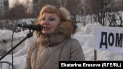 Ольга Полякова на митинге протеста