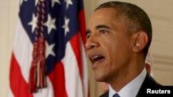 ԱՄՆ - Նախագահ Բարաք Օբաման Սպիտակ տանը հայտարարությամբ է հանդես գալիս Իրանի հետ ձեռք բերված համաձայնության վերաբերյալ, Վաշինգտոն, 14-ը հուլիսի, 2015թ․