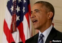 АҚШ президенті Барак Обама Иран мен алты ел арасында Тегеранның ядролық бағдарламасына қатысты келісім жасалуына орай мәлімдеме жасап тұр. Ақ үй, Вашингтон, 14 шілде 2015 жыл.
