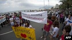نمایی از تظاهرات روز یکشنبه در شهر ریو علیه سفر احمدی نژاد به برزیل