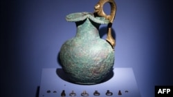 A vase displayed at a Netherlands exhibition, 'Crimea: Gold and Secrets of the Black Sea'