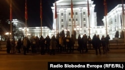Protest in front of government in Skopje, Macedonia
