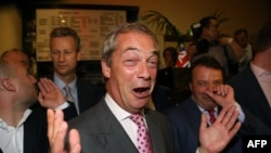 Найджел Фараж радіє з результатів референдуму, Лондон, 24 червня 2016 року
