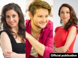 Narguiz Birk-Petersen (left), Eldar (Ell) Gasimov (center), and Leyla Aliyeva are this year's Eurovision hosts.