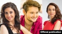 Ведущие конкурса (слева напрво): Лейла Алиева, Эльдар Гасымов и Наргиз Бирк-Петерсен