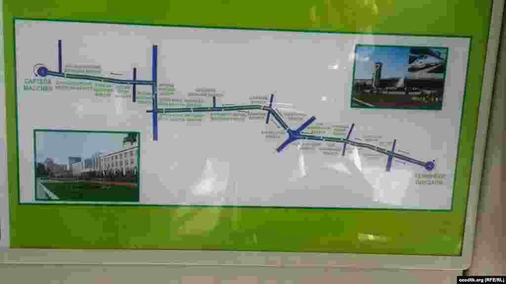 Карта маршрута самаркандского трамвая.