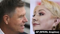 ROMANIA -- A combo photo shows incumbent President Klaus Iohannis (left) and former Prime Minister Viorica Dancila