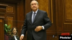 Armenia - Armen Sarkissian is seen in the parliament moment after being elected Armenia's next president, 2 March 2018.