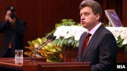 Претседателот Ѓорѓе Иванов зборува во македонското собрание, 2009.