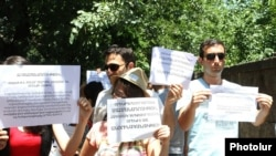 Armenia - A demonstration against pension reform outside the parliament building in Yerevan, 18Jun2014.