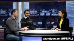 Արմեն Գրիգորյանը (ձախից) և Արշակ Մուսախանյանը «Ազատություն TV»-ի եթերում, 9-ը դեկտեմբերի, 2015թ․
