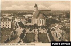 Фара Вітаўта была дамінантай цэнтру Горадні. Здымак зь вежы цяперашняга Фарнага касьцёла