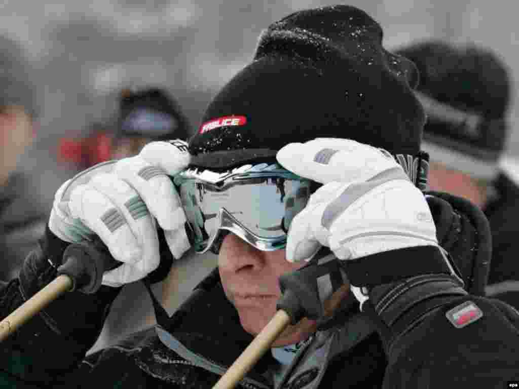 Putin hits the slopes at the Krasnaya Polyana ski center outside Sochi, venue of the 2014 Winter Olympics.