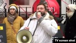 Евгений Чичваркин на акции протеста в Лондоне, 18 марта 2018 года
