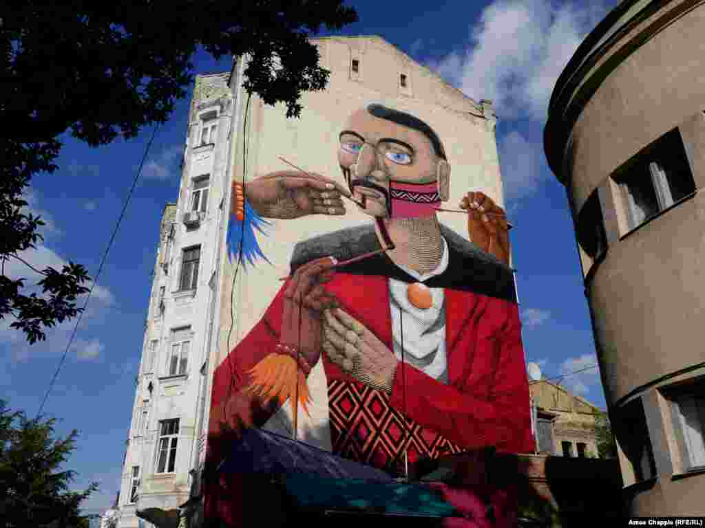 A mural by Brazilian artist Nunca. The concept of the work was to blend Brazilian and Ukrainian cultures in a single character.