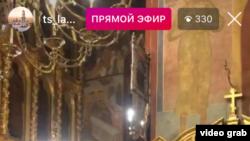 Скриншот прямой трансляции Пасхальной службы в аккаунте Свято-Троицкой Сергиевой Лавры