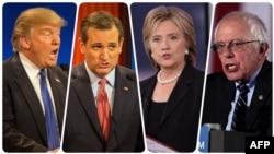 Donald Trump (left), Ted Cruz, Hillary Clinton, and Bernie Sanders