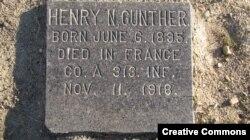 Надгробие американского солдата Генри Гантера, последнего погибшего на Западном фронте