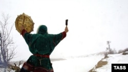 Filipp Ardeyev, the great-grandson of a shaman, performs a rite in Russia's Nenets Autonomous Region.
