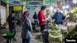 Fruit and vegetable stalls in Tehran's famous Tajrish Marketplace. March 30, 2020.