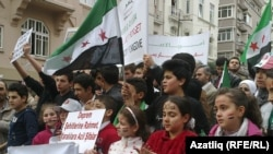 Сүрия консуллыгы каршында якынча 150 кешелек төркем җыелды